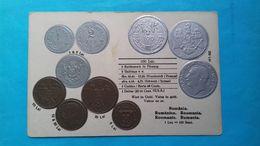Romania Roumanie Bucuresti Litografie Monede Carol I Coins Embossed Relief - Rumania