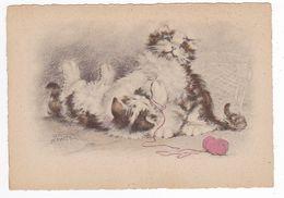 Top Rare Illustrateur Renaudin Naudy Superbes Chats Cats Avec Pelote De Laine Rose N°1135 N VOIR DOS - Naudy