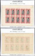 Congo Belge -Timbres Mols (Bilingue) Feuillet De 10 ** MNH : Carnet 2e Tirage Type N°65 B 10C Carmin, Panneau-β D 14 - Booklets