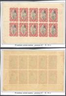 Congo Belge - Feuillet De 10 ** MNH : Carnet 3e Tirage Type N°65 C 10C Carmin Soutenu, Panneau-δ D 14 1/4 - Booklets