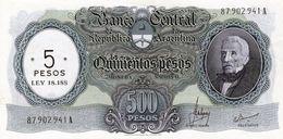 ARGENTINE ARGENTINA  5 / 500 PESOS 1969 - 1971 SERIE A SIGNATURES MASTROPIERRO ET IANELLA NEUF - Argentina