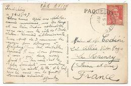 GANDON 15FR ROUGE PONDICHERY 15.2.1949 + GRIFFE PAQUEBOT CARTE AVION DE COLOMBO CEYLAN BOUDHA TEMPLE - 1945-54 Marianne De Gandon
