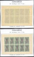 Congo Belge - Timbres Mols (Bilingue) Feuillet De 10 ** MNH : Carnet 3e Tirage Type N°66 C 15C Vert, Panneau-δ D 14 1/4 - Booklets