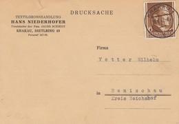 GG: EF Auf Drucksache Postkarte Textil Krakau Nach Ranischau - Occupation 1938-45