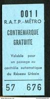 Métro De Paris - RATP - METRO - Ticket De Contremarque Gratuite - 001 L - Bus