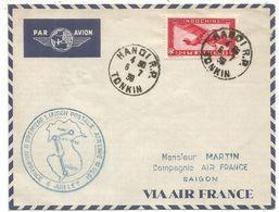 INDOCHINE PA 11C LETTRE COVER AVION HANOI 6.7.1939 + CACHET TURQUOISE PREMIERE LIAISON POSTALE AERIENNE POUR SAIGON - Indochine (1889-1945)