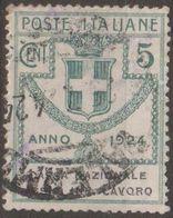 Italia 1924 Enti Semistatali UnN°17 (o)  Cassa Nazionale Assic. Infortuni Sul Lavoro - Fiscaux