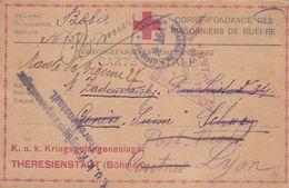 CARTE FM DE CORRESPONDANCE PRISONNIERS GUERRE THERESIENSTADT BOHMEN 1917 + CENSURE POUR GENEVE PUIS LYON - Militaria