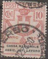 Italia 1924 Enti Semistatali UnN°18 (o) Cassa Nazionale Assic. Infortuni Sul Lavoro - Fiscaux