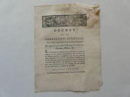 VIEUX PAPIERS - DECRET DE LA CONVENTION NATIONALE N° 499 : Exportation Des Bestiaux - Directoire De L'ORNE - 1793 - Gesetze & Erlasse