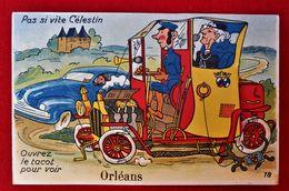 CPA à Système Dépliant Orléans/ Vieille Automobile - Dreh- Und Zugkarten