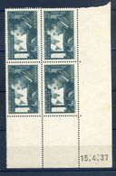 TIMBRES FRANCE REF230620...TIMBRES N° 337 COIN DATE (1937), Charnière - Dated Corners