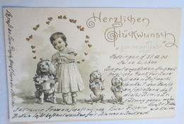 """Neujahr, Kinder, Hund"" 1905, Prägekarte  ♥  - Nouvel An"