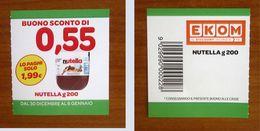 NUTELLA Buono Sconto ITALIA € 0,55 EKOM Pubblicità - Codice Barre - Nutella