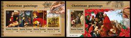 SIERRA LEONE 2015 - Christmas Paintings - YT CV=40 €, 5545-8 + BF846 - Paintings