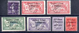 Grand Liban Gross-Libanon Y&T (Maury) 30* (45), 31* (31 I), 31a* (31 II), 32* (46), 33(*) (fenêtre), 34* (48), 35* (49) - Gross-Libanon (1924-1945)