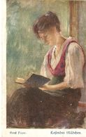 """Ernst Payer. Lady Reading. Lesende Madchen"" Fine Painting, Vintage German Postcard - Femmes"