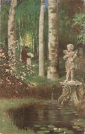 """B. Dietze. Couple. Lost In Garden. Weltvergessen"" Fine Painting, Vintage German Postcard - Couples"