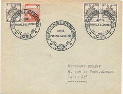 LETTRE 1950 AVEC  TIMBRES BLASON  STRASBOURG -TUBERCULEUX ET CACHET 1° CONGRES INTERNATIONAL CARTE POSTALE ILLUSTREE - Cachets Commémoratifs