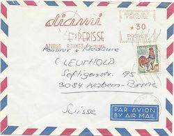 LETTRE 1965 POUR LA SUISSE AVEC AFFRANCHISSEMENT MIXTE E.M.A / TIMBRE AU TYPE COQ - EMA (Empreintes Machines à Affranchir)
