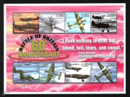 St Vincent 2000 Yvert 4093U-93AB, Planes. War. 60th Anniv Battle Britain, WW2. Military Aircraft - Miniature Sheet - MNH - St.Vincent (1979-...)