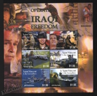 St Vincent 2003 Yvert 4595-600, War. Operation Iraqi Freedom. Soldiers, Planes, Tanks, Ships - Miniature Sheet - MNH - St.Vincent (1979-...)