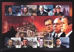 St Vincent 2003 Yvert 4601-08, War. Military. George Bush & American Military Personalities - Miniature Sheet - MNH - St.Vincent (1979-...)