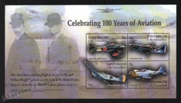 St Vincent 2003 Yvert 4617-20, Planes. Aviation Centenary, Wright Brother, Airplanes - Miniature Sheet - MNH - St.Vincent (1979-...)