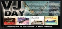 St Vincent 2005 Yvert 4866-69, War. 60th Anniv VJ Day, WW2. Planes & Ships - Miniature Sheet - MNH - St.Vincent (1979-...)