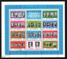 St Vincent 1975 Yvert BF 5, Politics. 200th Anniv American Independence. USA Presidents - Miniature Sheet - MNH - St.Vincent (1979-...)