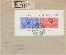 Schweiz Block 3 Pro Juventute 1937 Auf R-FDC GENF SOCIETE DES NATIONS 20.12.37 - Schweiz