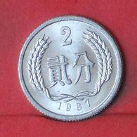 CUINA 2 FEN 1987 -    KM# 2 - (Nº36391) - Chine
