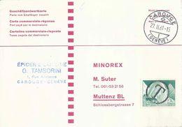 """Taxierte Geschäftsantwortkarte  Carouge (Genève) - """"Minorex, Muttenz""""        1961 - Lettres & Documents"""