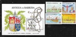 &BAR-29B& ANTIGUA & BARBUDA MICHEL 1106/1109+BL BL 136 MNH**. COLUMBUS, SHIP. - Antigua Und Barbuda (1981-...)