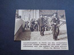 """Origineel Knipsel ( 4680 ) Uit Tijdschrift """" Zondagsvriend """"  1936 :  Mijnwerker Prosper Driesen  Veerle - Vieux Papiers"""