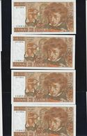 France 4 Billets De 10 Francs Berlioz Du 3 7 1975B Qui Se Suivent Juste Epinglage BDF - 1962-1997 ''Francs''