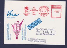Ceskoslovensko Ballloon Card W/Machine Cancel Praha 1992 Olympic Games Albertville - Balloon Postphoned Due - Winter 1992: Albertville