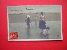 CPA SOUVENIR DE  écrit Kermor Au Stylo  PLAGE ANIMEE ENFANTS  EDIT CROISSANT PARIS 3360  VOYAGEE 1907 TIMBRE - Souvenir De...