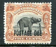 North Borneo 1918-30 Postage Dues - 5c Elephant HM (SG D69) - Nordborneo (...-1963)