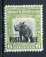 North Borneo 1918-30 Postage Dues - 6c Rhinoceros HM (SG D70) - Nordborneo (...-1963)
