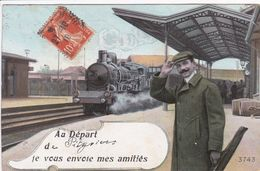 45 PITHIVIERS Fantaisie Train En Gare Locomotive Fumant ,envoyée à Melle Touchon Aux Guillots Saint Germain Des Prés - Pithiviers