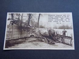 """Origineel Knipsel ( 4688 ) Uit Tijdschrift """" Zondagsvriend """"  1936 :  Avion  Vliegtuig  Ongeval Sint Denijs Westrem - Vieux Papiers"""