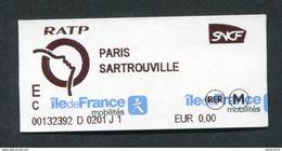 """Ticket D'essai à 0,00€ Train / RER - RATP / SNCF - Paris-Sartrouville - Billet """"Ile-de-France-Mobilités"""" - Chemins De Fer"""