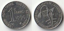 Pièce De 1 Franc CFA XOF 1999 Origine Côte D'Ivoire Afrique De L'Ouest - Côte-d'Ivoire