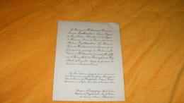 FAIRE PART MARIAGE DE 1947..FAMILLE Melle THERESE D'HERLINCOURT AVEC LE BARON MICHEL DE WARENGHIEN DE FLORY..EGLISE ST L - Boda