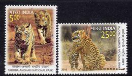 India 2016 Tadoba Andhari National Park, Tigers, Set Of 2, MNH, SG 3151/2 (E) - Unused Stamps
