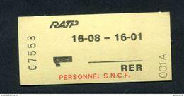 Ticket Neuf De Métro / RER - SNCF / RATP Pour Le Personnel SNCF (1ère Classe Boissy Saint Leger / Paris Nation) - Métro