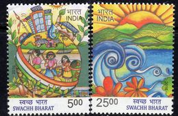 India 2016 Clean India Campaign Set Of 2, MNH, SG 3177/8 (E) - India