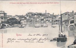ROMA - IL TEVERE ALLA MARMORATA CON I RESTI DEL PONTE SUBLICIO - BARCONE A VELA - 1903 - Ponts