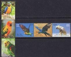 India 2016 Birds II Set Of 6, 2 X Strips Of 3, MNH, SG 3195/200 (E) - India